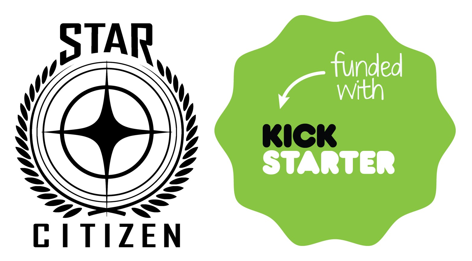 2012 10 18 Chris Roberts Adds Kickstarter Option to Star Citizen Star Citizen and Kickstarter Logos Star Citizen reaches Kickstarter goal