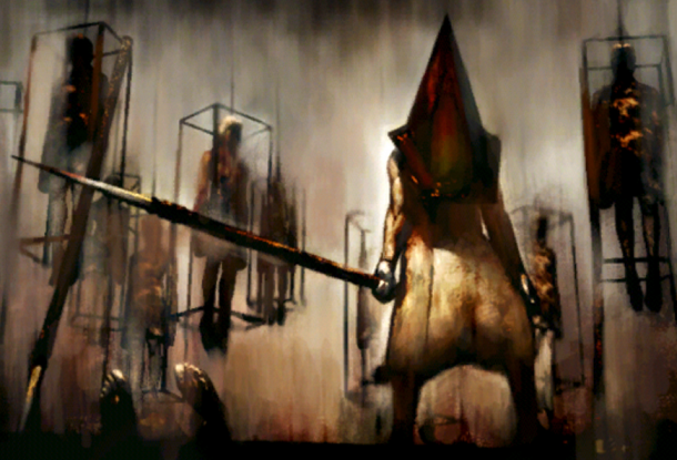 Scariest Enemies Pyramid Head Painting