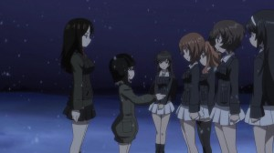 Girls und Panzer Nonna, Katyusha, Hana, Miho, Saori, Yukari, and Mako