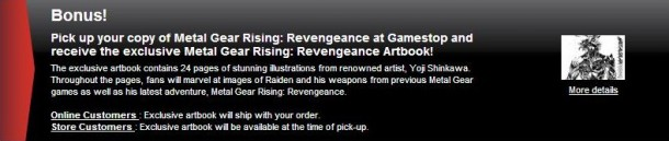 Metal Gear Rising Revengeance Preorder bonus art book