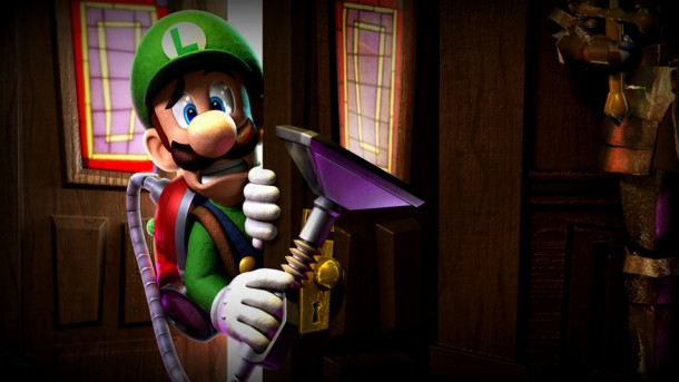 Luigi's Mansion: Dark Moon | Luigi Peering Through a Door