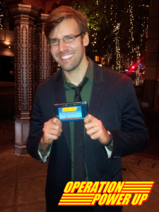 Mr. Moore holding Operation Power Up's 3DS, which he StreetPassed Max!