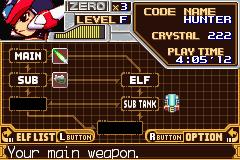 Mega Man Zero | Menu Screen